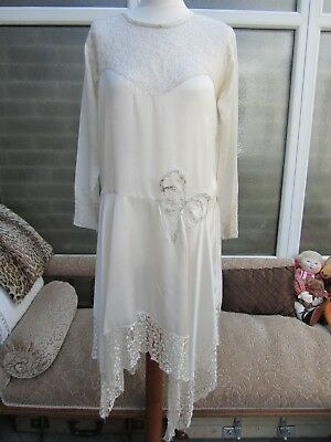 1929 Original Vintage/Gatsby Lace Wedding Dress Handkerchief Hem