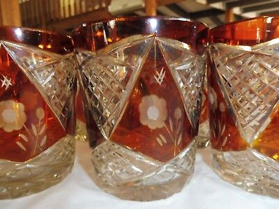 Set of Six Bohemian Glass Amber Overlay Whikey Tumblers