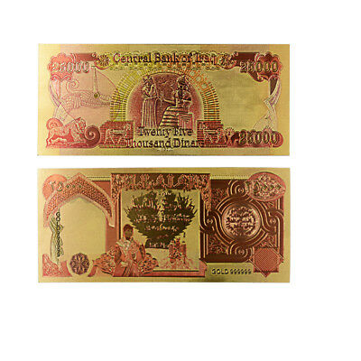 Central Bank of Iraq 24k Gold Plated Colorful Gold Banknote Iraq 25000 Gifts