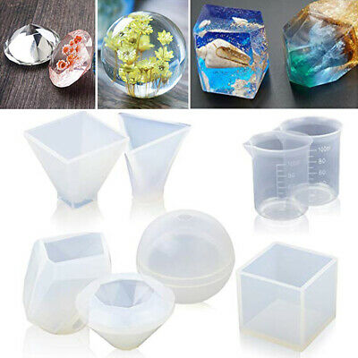 6Pcs Sphere Ball Silicone Cup Mold Mould DIY Pendant Jewelry Making Resin Craft