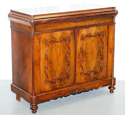 Circa 1850 Flamed Mahogany Sideboard Cupboard Ornately Carved Beautiful Drawers