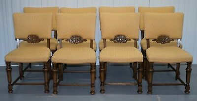 Set Of 8 Old English Oak Dining Chairs For Reupholstery Upholstery Project
