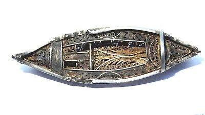 Antique solid silver  miniature boat canoe