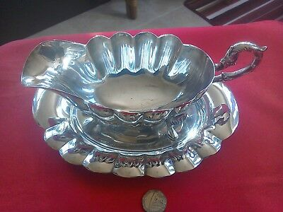 Great large vintage silver plate sauce boat & tray with scalloped decoration