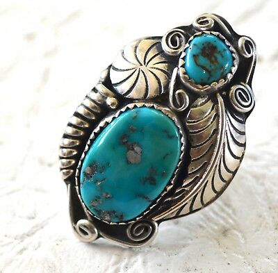 Unsigned Sterling Silver Ring w/ 2 Turquoise Stones - Size 5