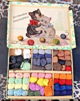 Box of Vintage Darning Cottons - Various Colours (East Germany DDR/GDR) - 1960's