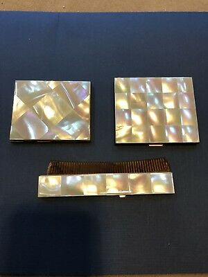 Vintage Elgin American Mother Of Pearl 3 Piece Compact Set