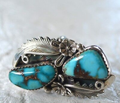 Vintage Peter Johnson Navajo Sterling Silver and Turquoise Ring - Size 4.75