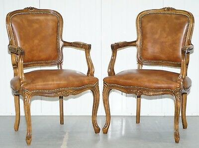 Pair Of Lovely Vintage Aged Brown Leather French Louis Xvii Fratelli Armchairs