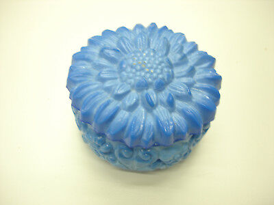 Old Vintage Bohemian Czech Republic Beautiful Blue Sunflower Dresser Powder Box