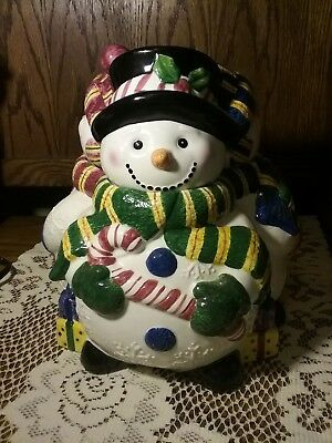 Collectible Ceramic Holiday Christmas Snowman Family Theme Cookie Jar IN BOX