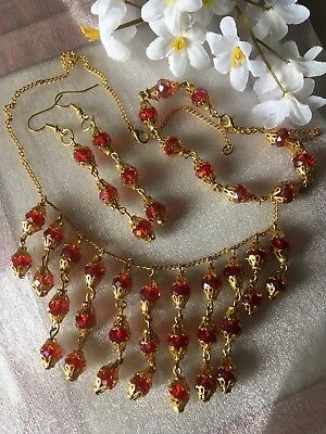 Christmas Red Crystal Necklace&earings&bracelet/in A Box.