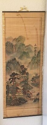 Antique Signed Scroll, Japanese Chinese Asian Art Hand Painted Bamboo Flowers