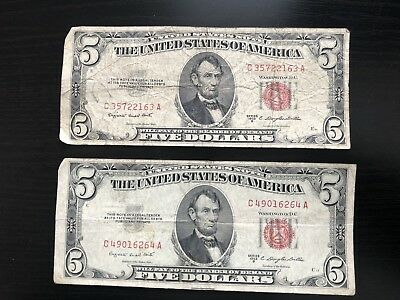 Two-2 1953-B $5 FIVE DOLLAR BILL UNITED STATES LEGAL TENDER RED SEAL B