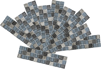 Pack of 10,20,30 Grey Glass /& Stone Mix Mosaic border tile 70mm x 300mm Sample