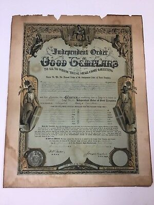 Independent Order Of Good Templars Document Naugatuck Connecticut 1900