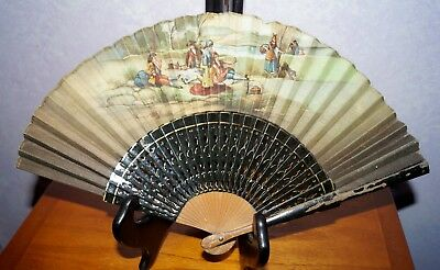 Antique Hand Fan Carved Wood & Silk Hand Painted Signed Inis A. Pico Women Men