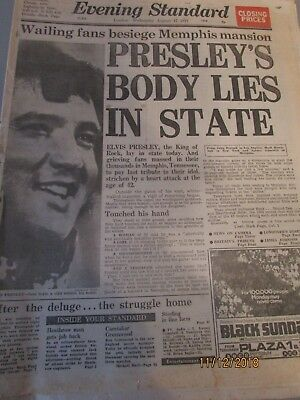 ELVIS PRESLEY DEATH NEWSPAPERS 4 British, Evening Standard, Daily Mail