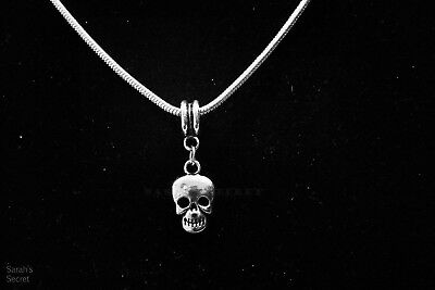 Small Skull Pendant Necklace with Sterling Silver Snake Chain #J525