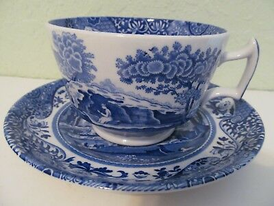 4 SPODE Blue Italian Cups and Saucers - Tea Cups - Coffee Cups - England