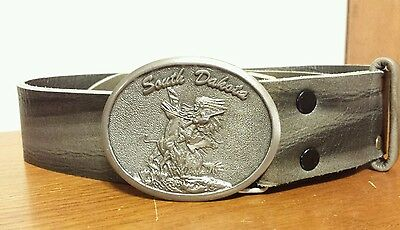 Vtg Western Pewter Leather Belt &  Buckle Paula Freed Indian Horse S. Dakota!!