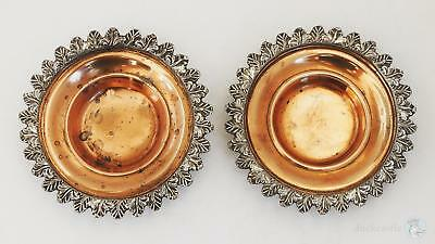 PAIR George III OLD SHEFFIELD PLATE SALTS c1810 Leaf Borders Worn Gilding