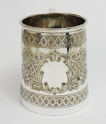 Smart VICTORIAN Engraved SILVER PLATE TANKARD 1 PINT 19th Century