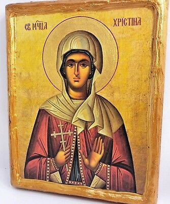 Saint Christina Kristina Mount Athos Eastern Orthodox Byzantine Icon on Wood