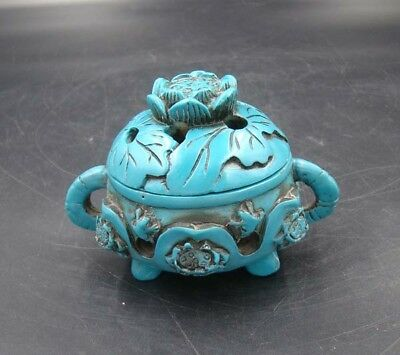 Collectible Handmade Carving Lotus Statue Turquoise Incense Burner