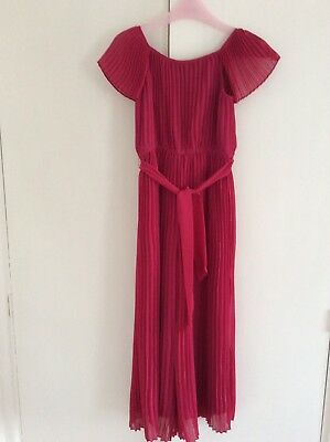 Monsoon Girls Hot Pink Pleated Jumpsuit One Piece Outfit Age 7-8 Years