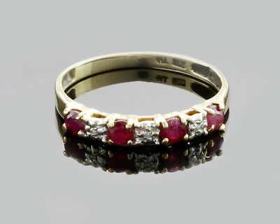 Vintage 10k Yellow Gold w/ 4 Ruby & 3 Diamond TH Ring, Size 7.75