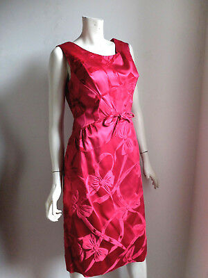 Vintage Bombshell Holiday Cocktail Dress Ruby Red Satin Velvet sz 10 12 14