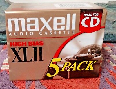 New, Sealed Maxell XL II 90 Audio Cassette Tapes 5 Pack High Bias Made in Japan
