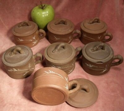 VINTAGE CHINESE 7 x CUPS & LIDS COVERED ETCHED DESIGN Chinese republic era
