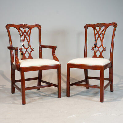 Set of 8 mahogany Chippendale traditional dining chairs with white fabric