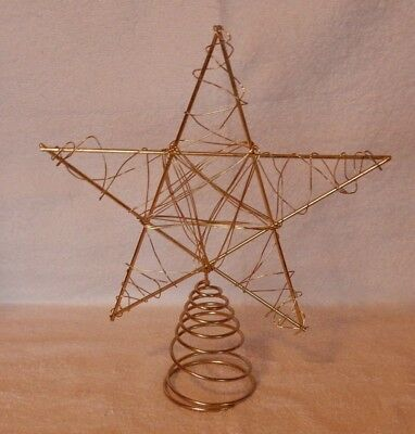 """Gold Colored Curly Wrapped Wire Christmas Tree Topper Star With Horn 12"""""""
