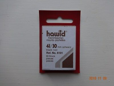 Hawid Stamp Mounts, Pack of 50, Black, 41 x 30, Ref. No. 6101