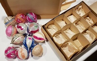 Antique Poland LARGE FANTASIA Glass CHRISTMAS Handpainted ORNAMENTS in box 12