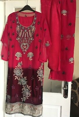 4 Piece Salwar Kameez Anarkali Lengha Asian Dress Pink Black Size Small