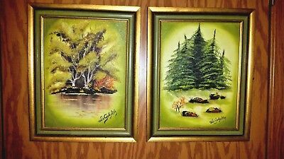 Vintage Pair Signed Orig Oil Paintings of Trees In Stunning Yellows & Greens!