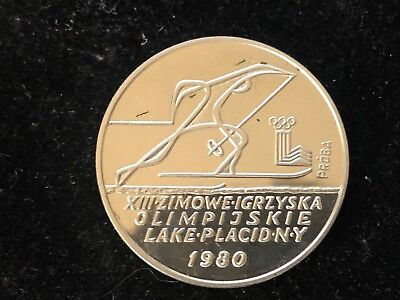 Poland 1980 Silver 200 Zlotych Olympic Skier Proba Pattern Low Mintage Rare