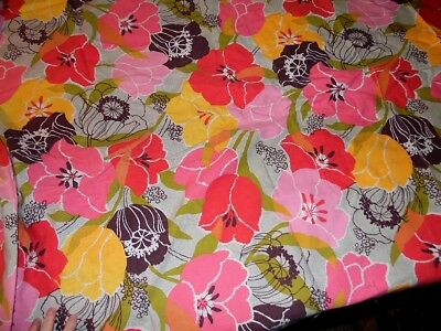 """VTG fabric, large pinks, yellow and brown flowers, 98"""" long"""