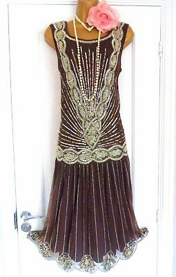 Joanna Hope 1920s Style Gatsby Flapper Charleston Beaded Sequin Dress Size 14