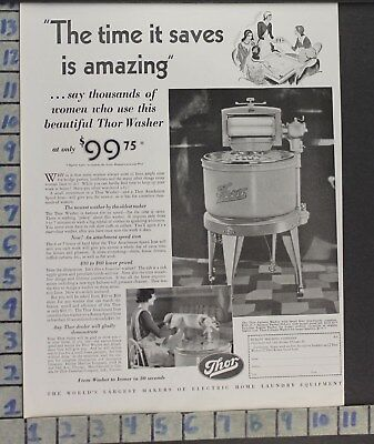 1930 Thor Laundry Wash Machine Iron Hurley Home Decor Vintage Art Ad  Cf15