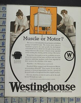 1921 Westinghouse Laundry Wash Motor Woman Home Decor Vintage Art Ad  Co97