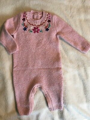 Girls Knitted Pink Romper Worn Once 3-6 Months
