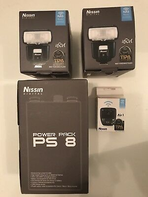 Nissin I60a FlashX 2. Nissin Air1 Commander Unit. Nissin PS8 power Unit. Olympus
