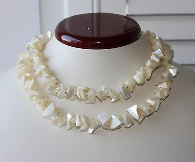 """Vintage Mother of Pearl & Faux Pearl Necklace 36"""" Length"""