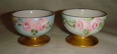 Pair Vintage Hand Painted Porcelain Open Salt Dishes- Footed