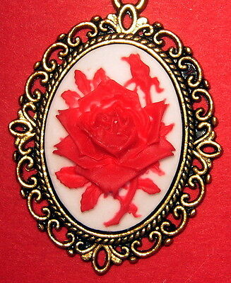"Antique Gold Pendant Red Rose  Cameo 22"" Chain U Will  Love This One"